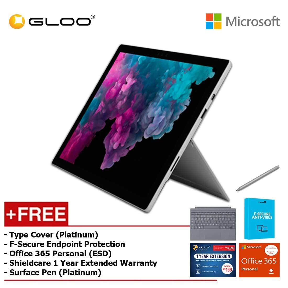 Microsoft Surface Pro 6 Core i7/8GB RAM - 256GB + Type Cover Platinum + Office 365 Personal (ESD) + F-Secure Endpoint Protection + Shieldcare 1 Year Extended Warranty + Surface Pen Platinum Malaysia