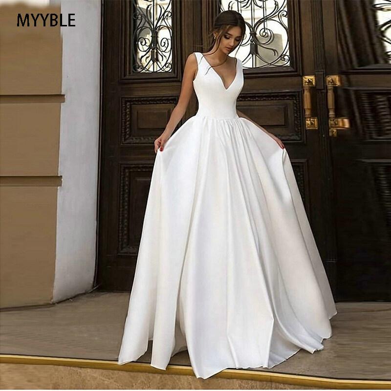 Elegant Boho White Wedding Gowns Long 2020 Ivoey Beach Wedding Dress Simple V Neck Satin Sleeveless Pageant Sexy Bridal Dresses Lazada Ph,Winter Dresses For Women Wedding