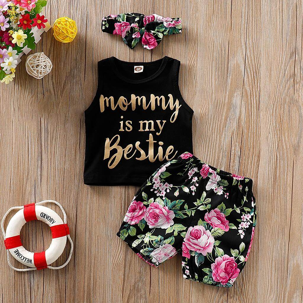 5254550db Lazadacarell Toddler Baby Girl Letter Vest Tops+Floral Print  Shorts+Headbands Set Outfit