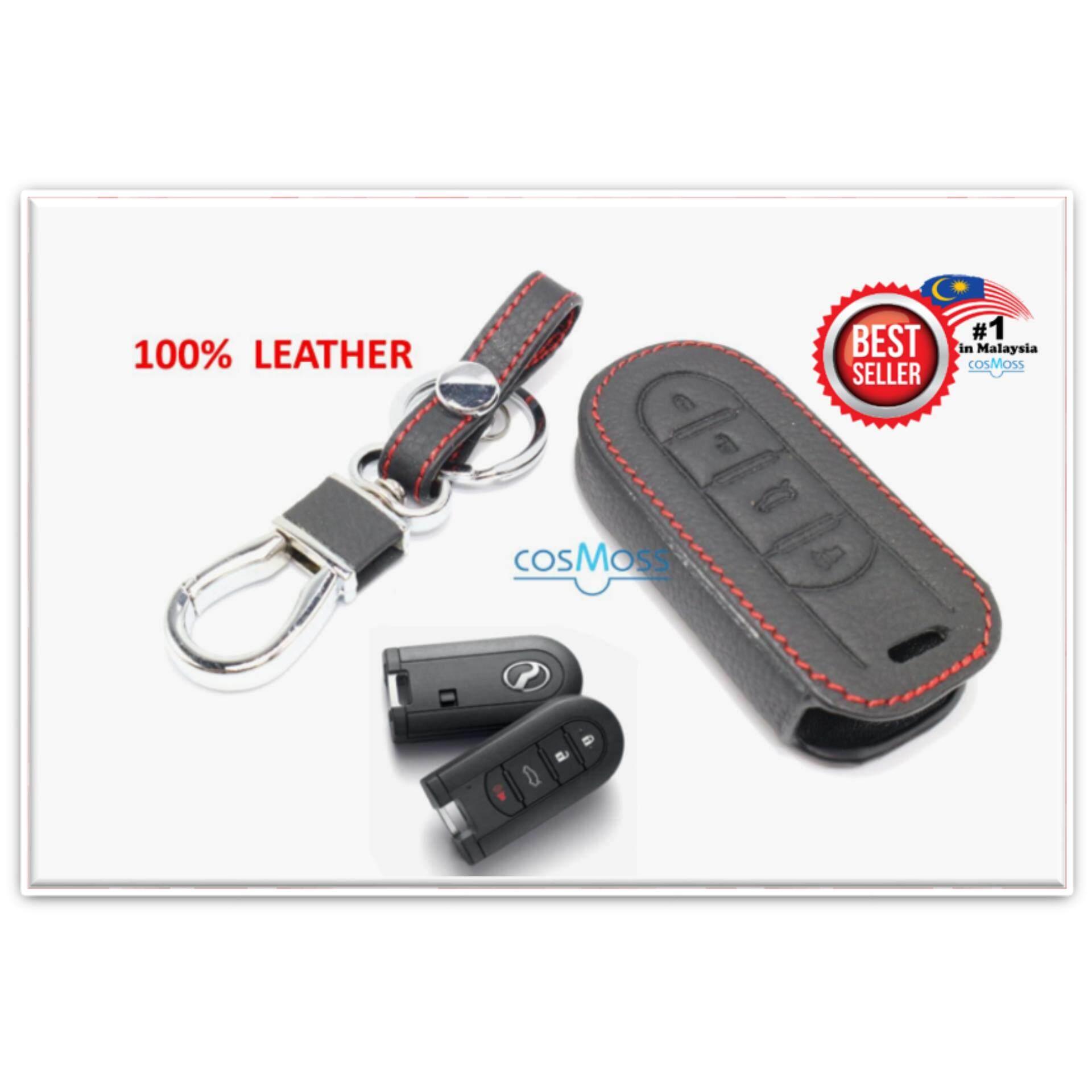 Perodua Aruz Keyless Remote Leather Car Key Cover Case (black-Redline) By Cosmoss.