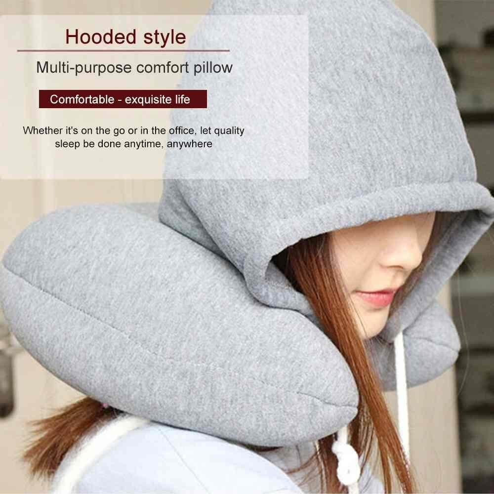 Chux Body Neck Pillow Solid Grey Nap Cotton Particle Pillow Soft Hooded U-Pillow Textile Home Airplane Car Travel Pillow Accessories By Chux.