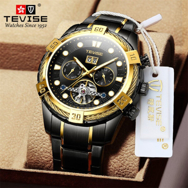 TEVISE new tourbillon watch mens fashion business waterproof mens multi-function mens watch best gift, fashion trend mens watch, atmospheric male watch Malaysia