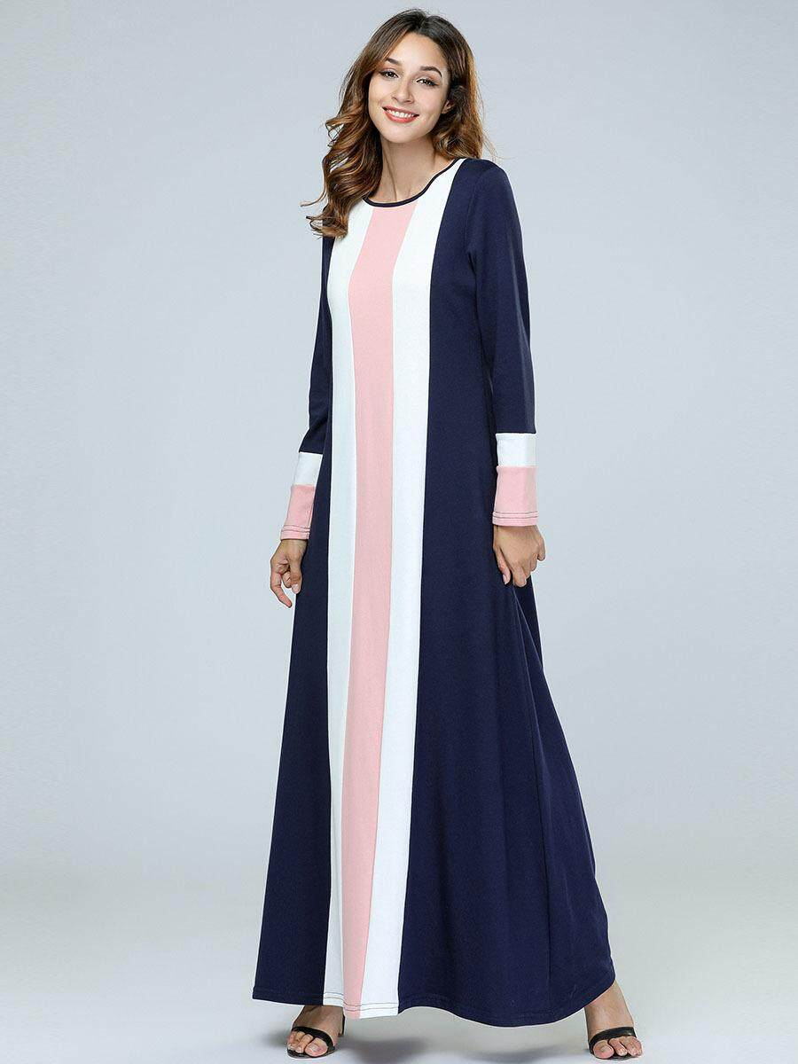 1042c96dc3 Women Muslim Dress Patchwork Knitting Plus Size Islamic Abaya Robe Arabe  Muslimdress for Women Abaya Islamic