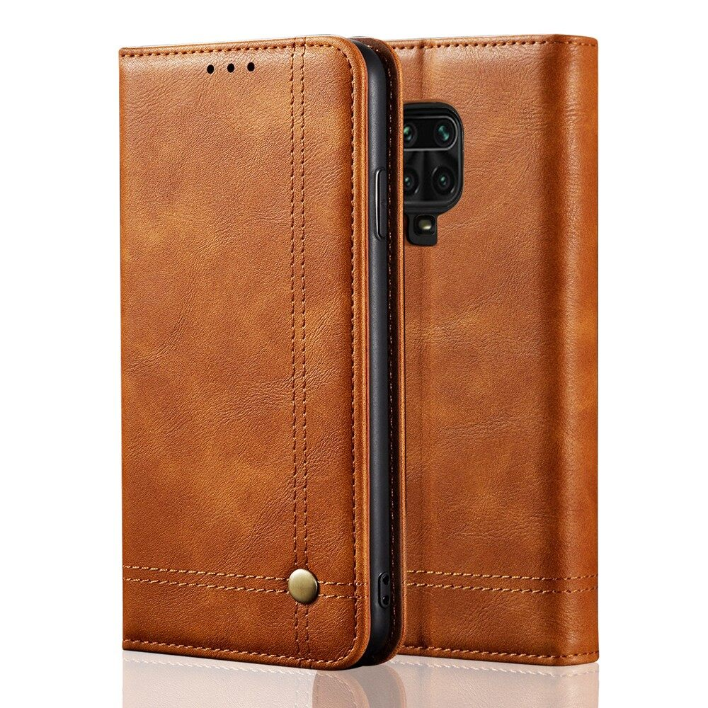 For Xiaomi Redmi Note 9s/redmi Note 9 Pro/redmi Note 9 Pro Max Retro Leather Flip Cover Wallet Case With Card Stand Magnetic Book Cover Casing.