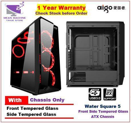 #Aigo Water Square ATX Front Side Tempered Glass Gaming Chasis # Malaysia