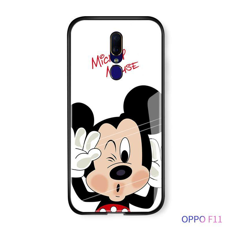 Untuk OPPO F11 A9 A9X Mewah Kartun Disney Mickey Minnie Mouse Donal Desi Bebek Air Ciuman Case Glossy Kaca Antigores Kembali Casing Kover