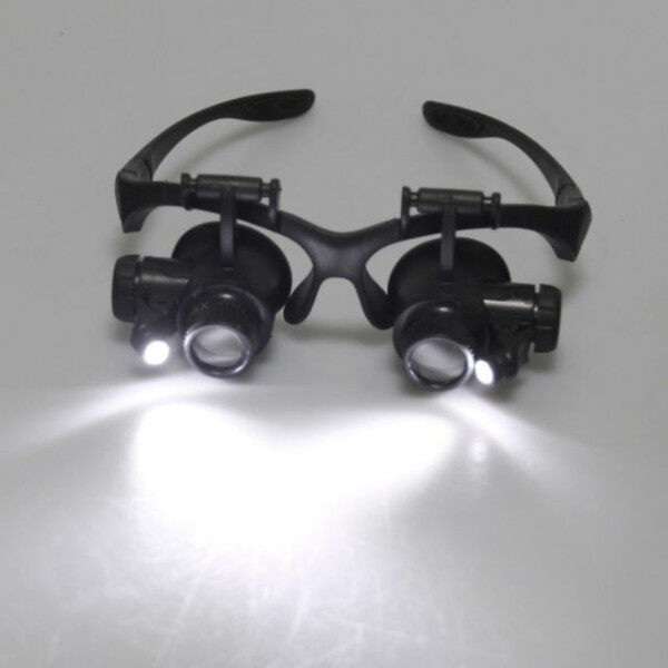 10X 15X 20X 25X LED Loupe 9892 Double Eye Jeweller Watch Repair Magnifier Glasses Malaysia