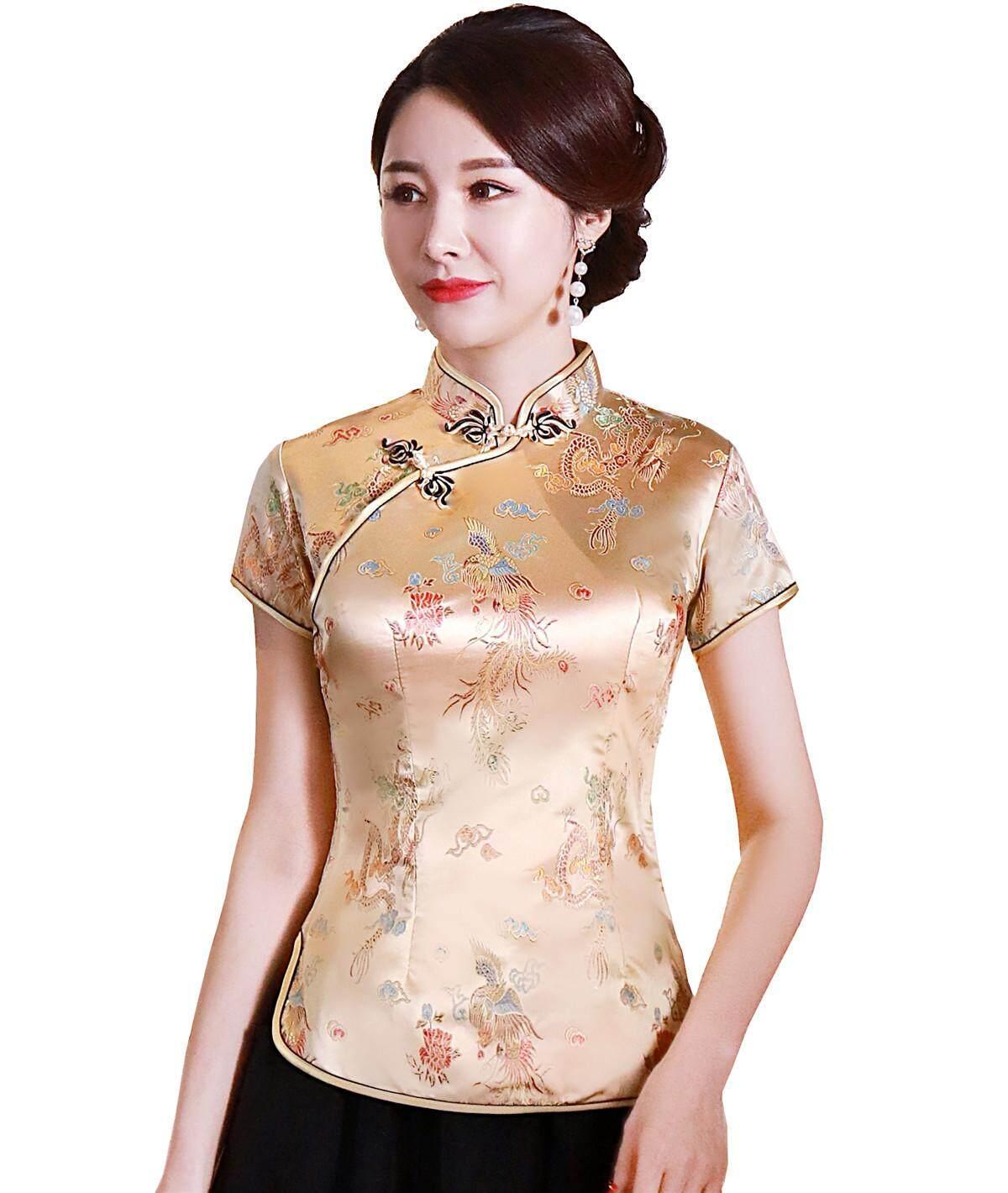 fea27549b Shanghai Story Dragon Embroidery Chinese Cheongsam Shirt Short Sleeve China  Blouse for Women Gold