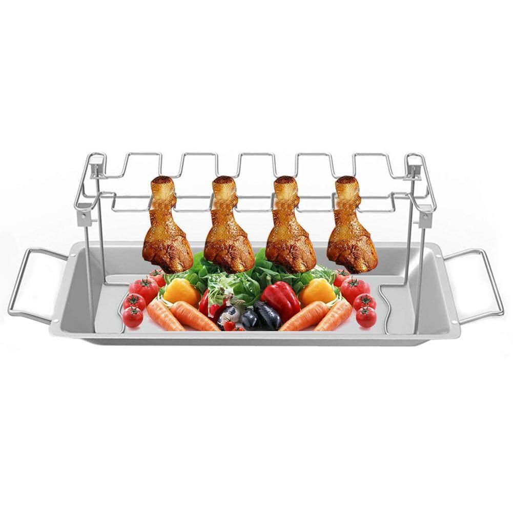 Đồng hồ nam Dây Thép Không Gỉ Gà Cánh Chân Giá Bếp Nướng Giá Đỡ với Nhỏ Giọt Chảo cho BBQ Dã Ngoại Gà Trống Nướng cho Lò Nướng