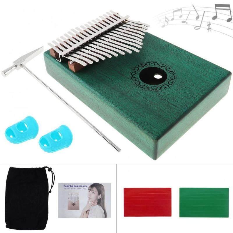 17 phím Xanh Kalimba Đơn Ban Gỗ Gụ Ngón Tay Cái Đàn Piano Mini Bàn Phím kèm Dụng Cụ Đầy Đủ Phụ Kiện