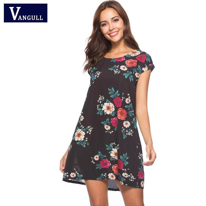 6cee483698 Vangull Women Dress 2019 Summer Sexy Floral Print Chiffon Mini Dress Boho  Style Short Sleeve Party
