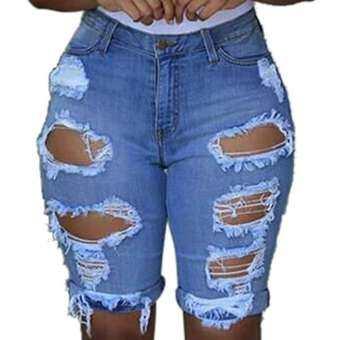 Auburyshop ผู้หญิงทำลายหลุมสั้นกางเกงผ้ายีนส์ขาสั้น Ripped Jeans【Reference ขนาด chart】-