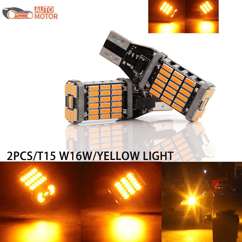 [Mesin Otomatis] 2 Buah Sangat Terang 15-smd 2835 912 921 W16W T15 Bola LED untuk Mobil LED Cadangan Lampu Mundur Kesalahan CANBUS Gratis 6000K Lampu Kuning