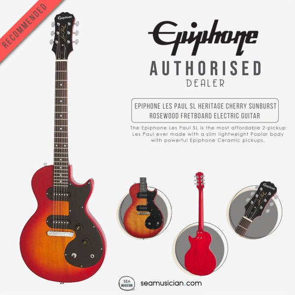 EPIPHONE LES PAUL SL COLOR HERITAGE CHERRY SUNBURST ROSEWOOD FRETBOARD ELECTRIC GUITAR ENOLHSCH1 (MAHOGANY NECK/2 SINGLE-COIL PICKUP/SOLIDBODY WITH POPLAR BODY/SEAMUSICIAN) Malaysia