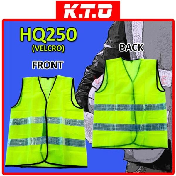 SAFETY VEST VELCRO CLOSURE WITH TWO LINE REFLECTIVE / JAKET KESELAMATAN - HQ250VELCRO