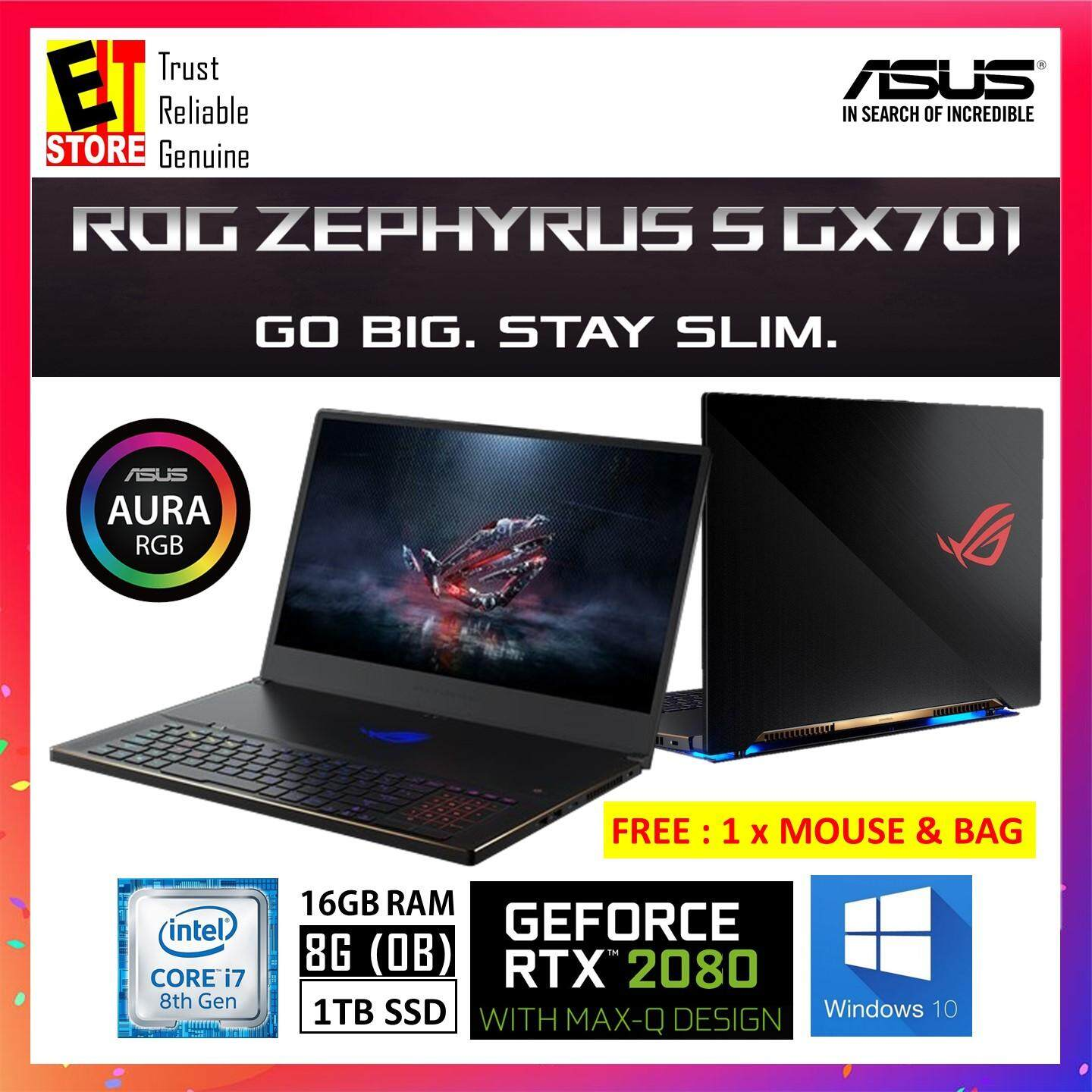 ASUS GX701G-XEV062T METAL/BLACK (I7-8750H/16G+8G[ON BD]/1TB SSD/RTX2080 MAXQ 8G/17.3/W10/2YRS) + MOUSE & BAG Malaysia
