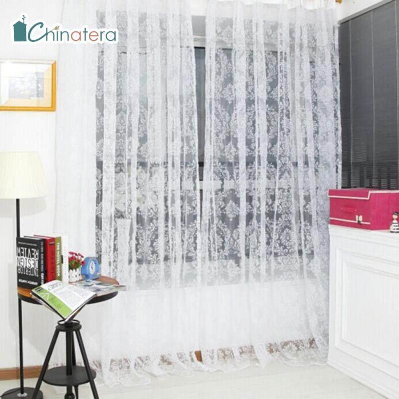 [Chinatera] 100X200 Cm Rèm Thêu Hoa Voan Cổ Điển Phòng Ngủ Phòng Khách Tulle Rèm Cửa Sổ Vải Mỏng Rèm Hoa Rèm Lãng Mạn Sheer Phòng Ngủ Đề Can Gia Dụng
