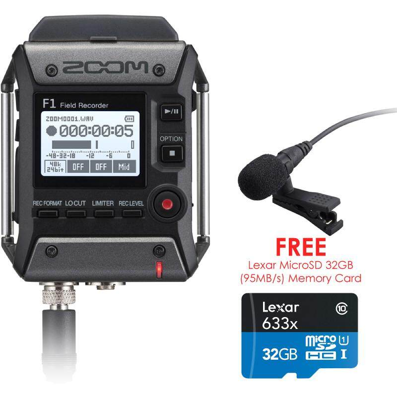 Zoom F1 Field Recorder With Lavalier Microphone F1-Lp + 32gb Microsd Memory Card By Cameralah.