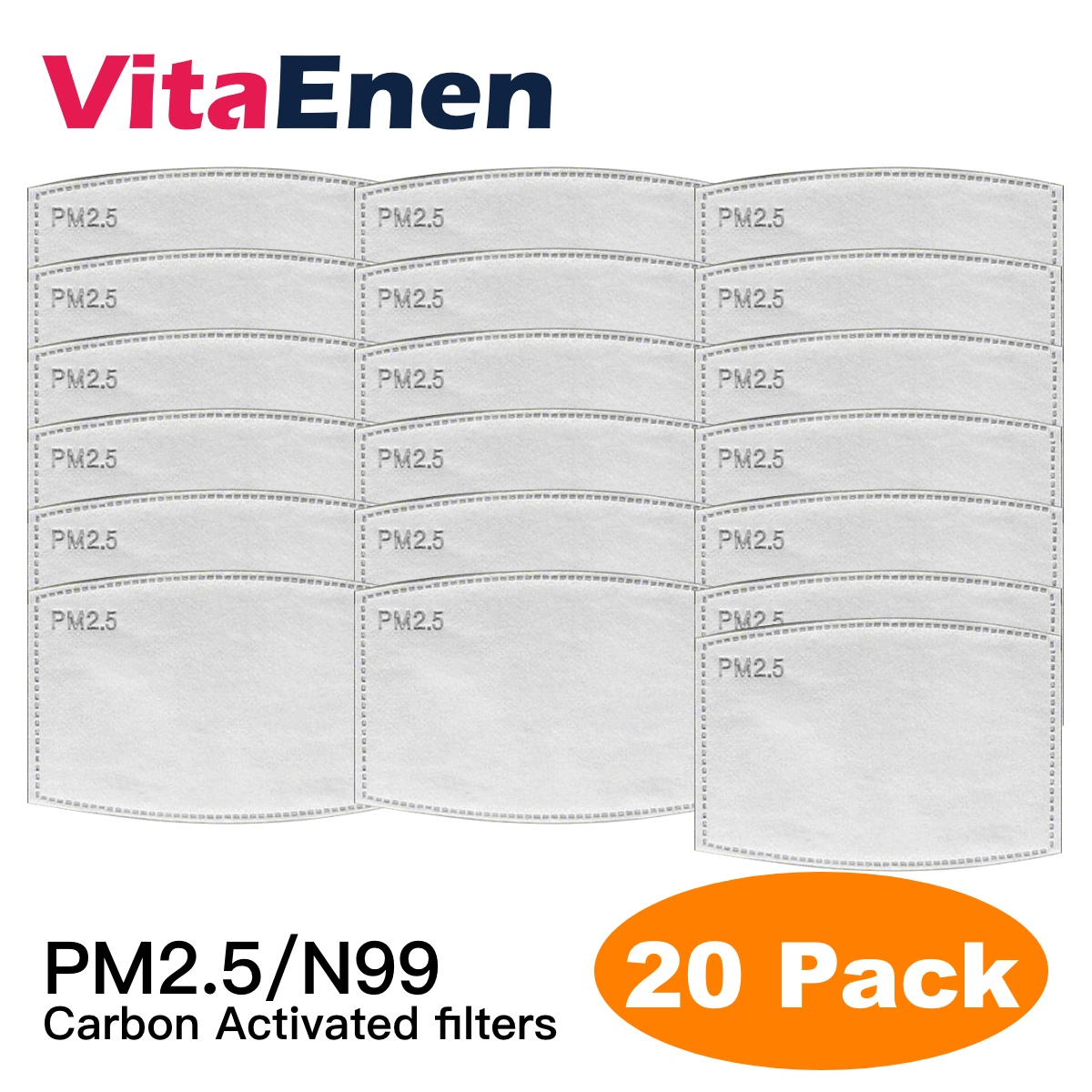 VITAENEN [Quality]20PCS Large stock,Breath filter mouth cover,Face Mouth With Replaceable Filter,Against Bacteria  Dust Filter,20pcs Anti haze and dustproof square arc active carbon filter active carbon filter --in stock