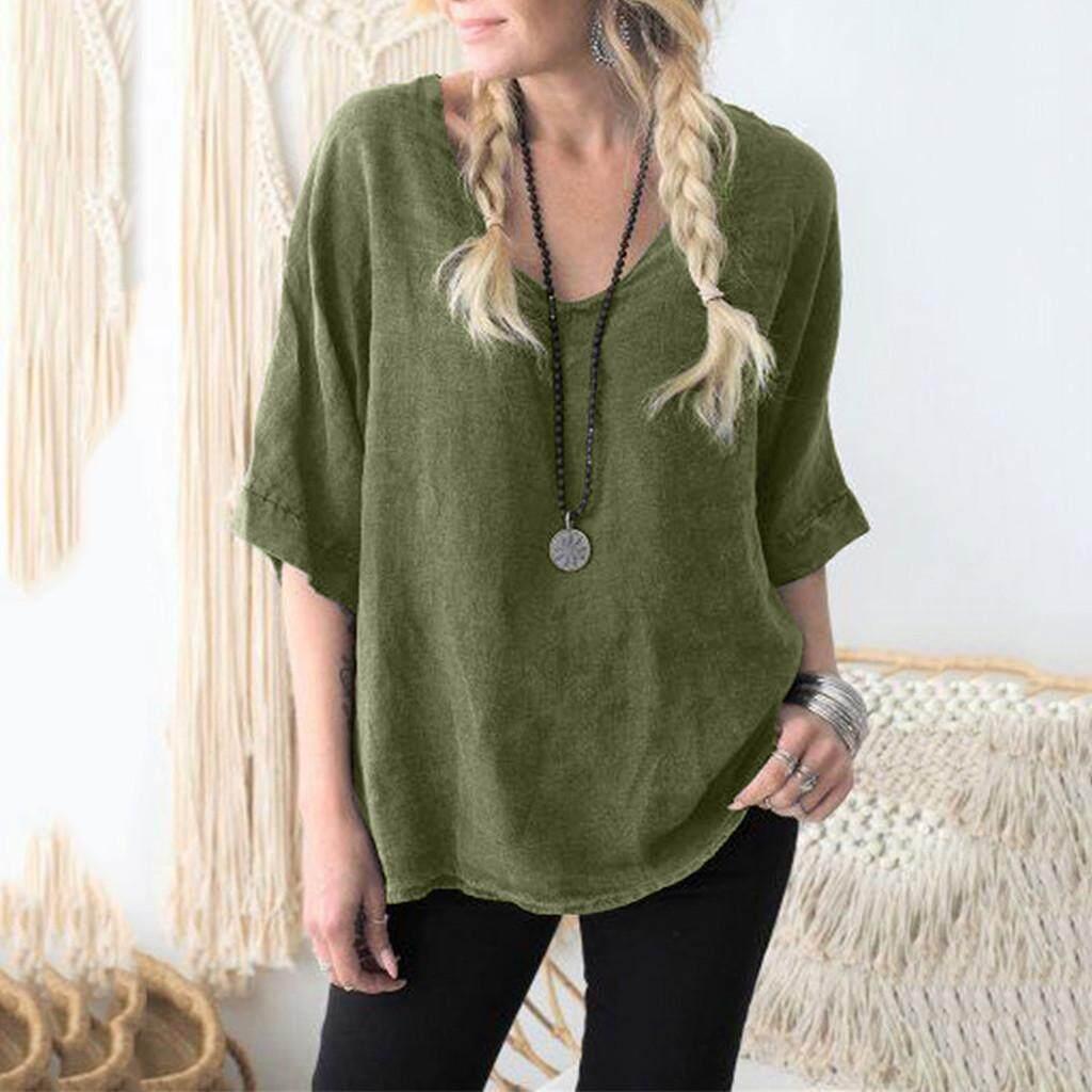 39d01e6589b Sagestore Fashion Women Vintage V-neck Cotton Linen Casual Loose T-shirt  Blouse