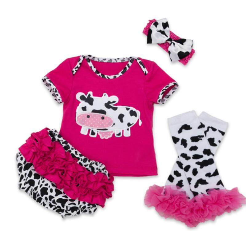 1a99c63451 4Pcs Baby Clothes Cotton Romper Baby Girl Dairy Cow Print Shirt Top Ruffles  Lace Pants Legging