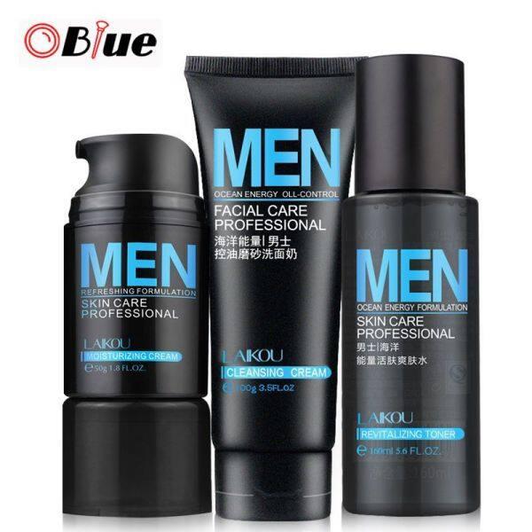 OBlue 3 Cái Set Men Chăm Sóc Da Mặt Phù Hợp Với Kem Dưỡng Ẩm + Sữa Rửa Mặt + Toner Kiểm Soát Dầu Sạch Sửa Chữa Kem Mỹ Phẩm