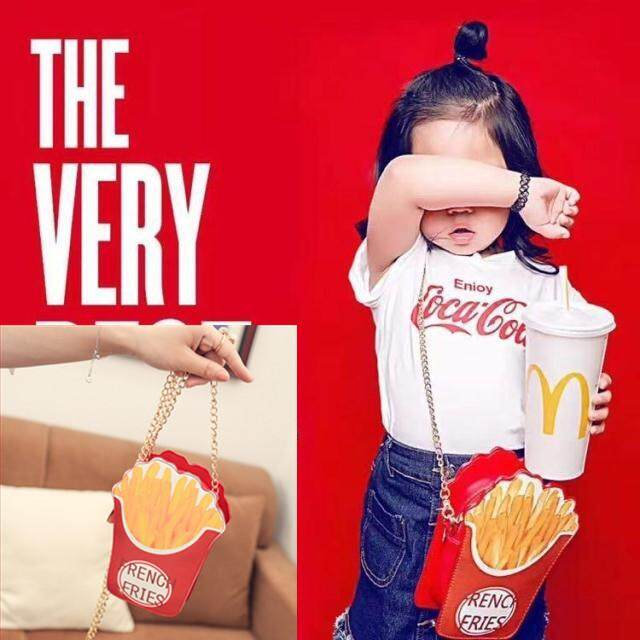 Children Photographic Prop Model McDonald's KFC French Fries Bag Photo Taking Chain Bag Cartoon Funny Props