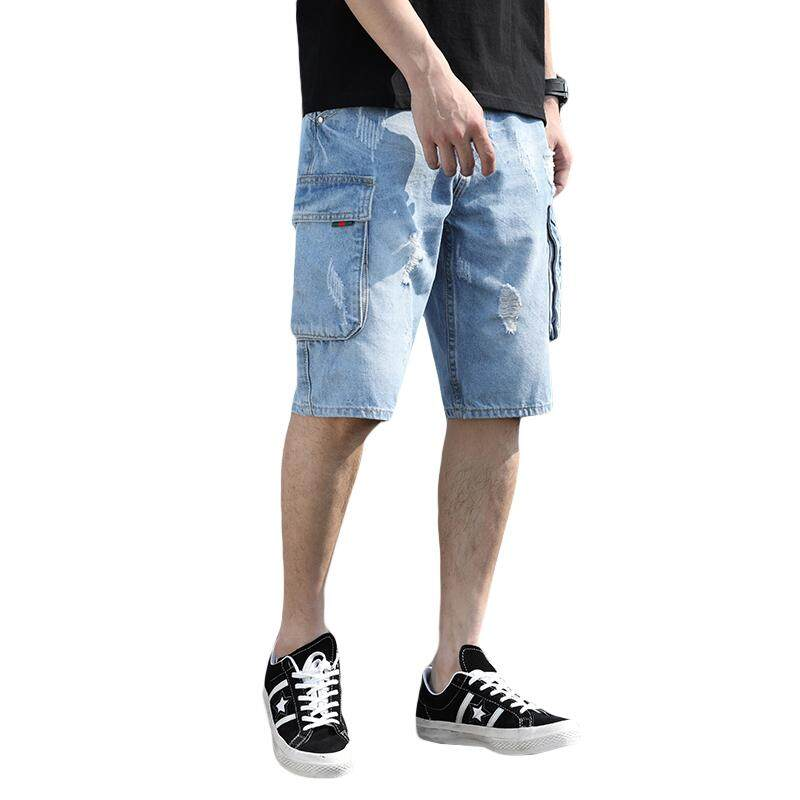 1a06aa7ed31 Fashion cargo Shorts jeans ripped torn jeans men loose wide leg ribbons  light blue no elastic