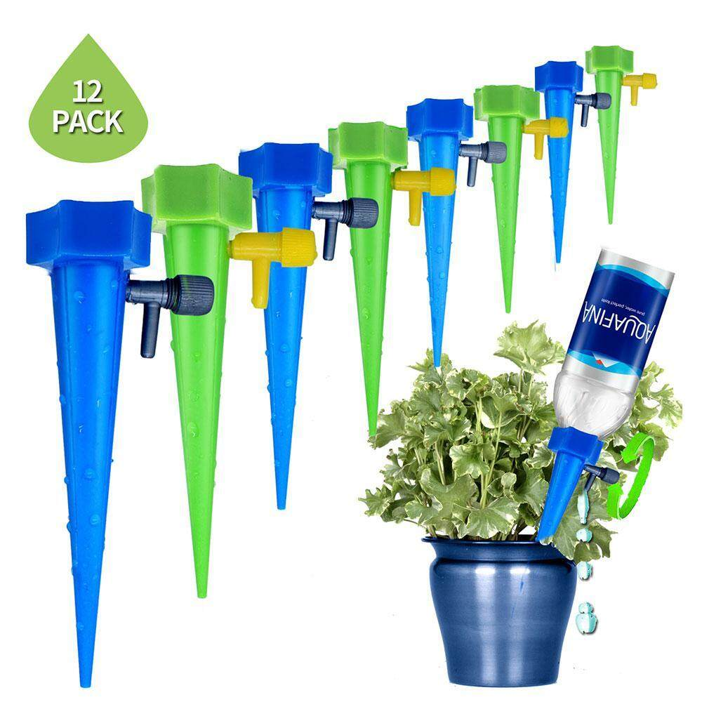 FlyUpward Adjustable Plant Waterer, Self Watering Spikes Devices With Slow Release Control Valve Switch For Outdoor Indoor Flower Or Vegetables - 12 Pack