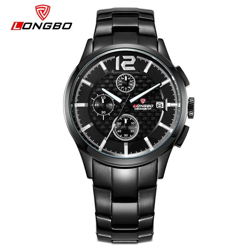 RISTOS Brand Sports Men Wristwatches Military Quartz Genuine Leather Multifuncation Date Calendar Waterproof Black 80178 Malaysia