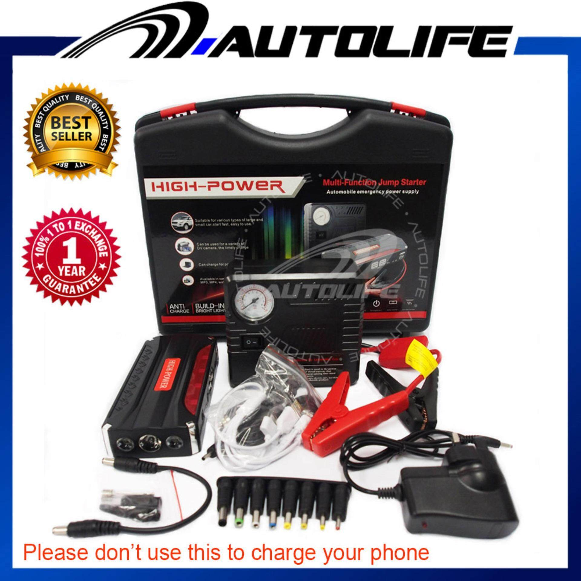 Jump Start Car Power Bank (68800mah) & Tire Inflate Device (emergency Mobile Power Supply) & Emergency Parking Light By Autolife.