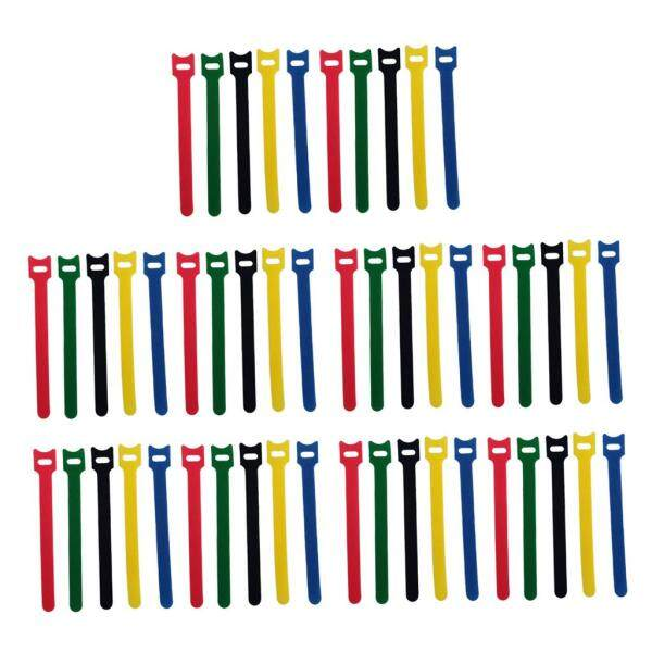 Fityle 50pcs Multicolor Nylon Reusable Fastening Cable Ties Hook and Loop Cord Ties