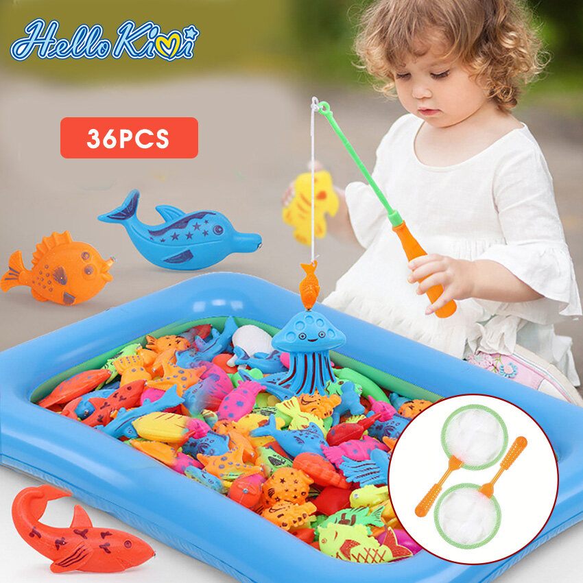 Water Table Bath-tub Kiddie Party Toy with Pole Rod Net Plastic Floating Fish Toddler Color Ocean Sea Animals Age 3 4 5 6 Year Old Magnetic Fishing Pool Toys Game for Kids