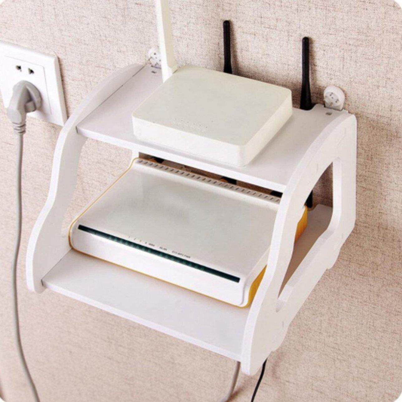 Best Sellers White Storage Decorative Wall Shelf Wifi Router Box Car Shaped Punch Free