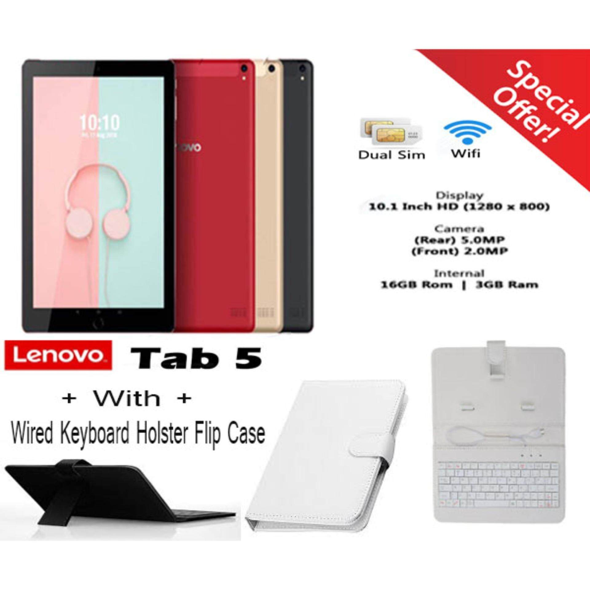 Ready Stock_ Lenovo Tab 5 10 1 Dual Sim WiFi Tablet With Wired Keyboard  Holder