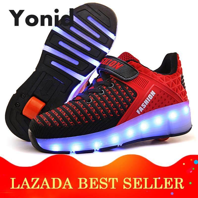 Yonid Ukuran 29-40 Laki-Laki Perempuan Anak-Anak Lampu Led Lebih Tinggi Tunggal Rol Roda Sepatu Sepatu Mentee Sneakers By Yonid.