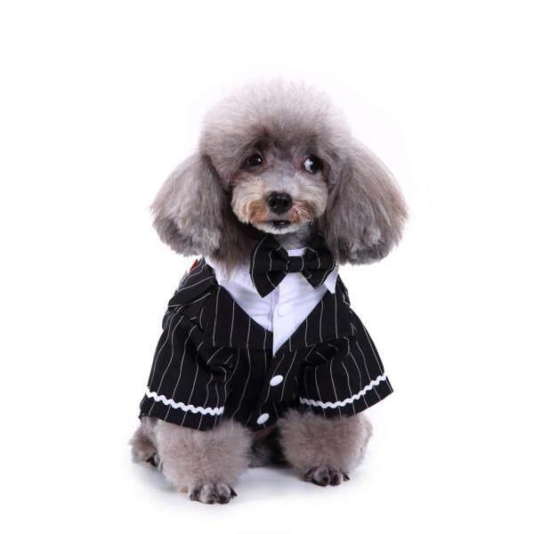 Huanhuang®Áo Sơ Mi Chó Con Thú Cưng Thắt Nơ Sọc Đáng Yêu, Tuxedo Trang Phục Đám Cưới, Trang Phục Trang Phục