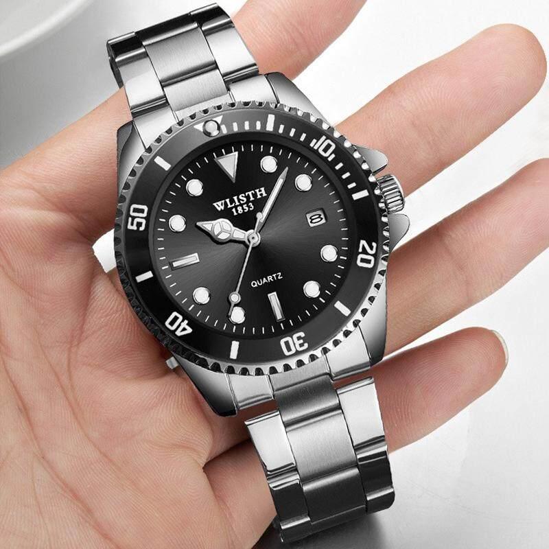 WLISTH Jam Tangan Lelaki Business Waterproof Men Watches Original Date Calendar Quartz Stainless Steel Watch for Men Black Silver Malaysia