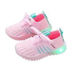 Giày lưới chống trơn trượt dệt kim mềm mại cho bé trai bé gái 1-5 tuổi có ánh sáng nhấp nháy – INTL