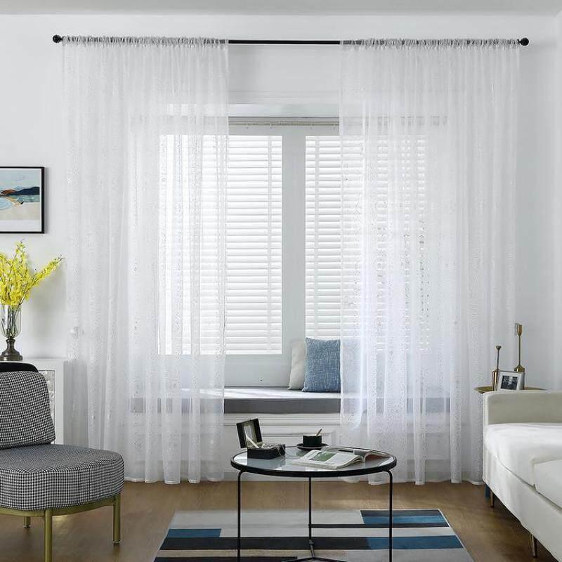 KL 100X250Cm Rèm Mỏng Voile In Lá Kim Loại Rèm Cửa Sổ Cho Phòng Khách Và Phòng Ngủ