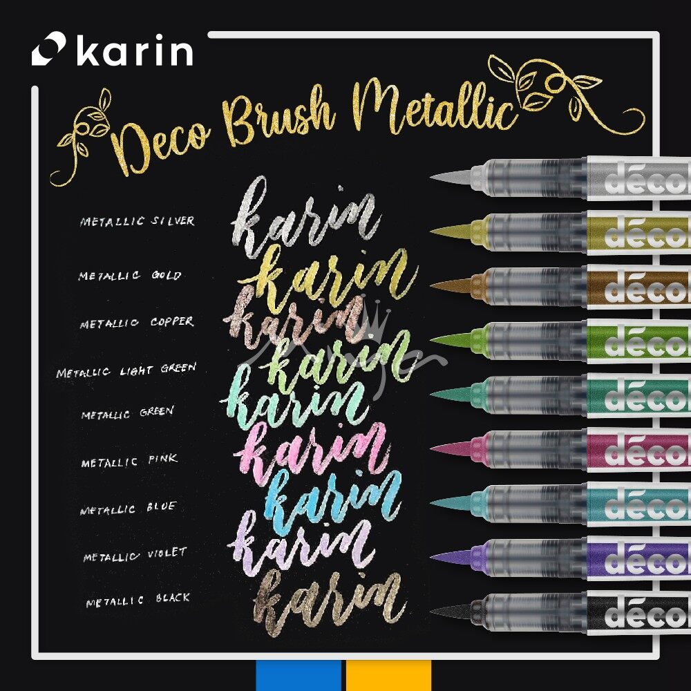 Karin Decobrush Metallic Permanent Markers Brush Pen Lazada