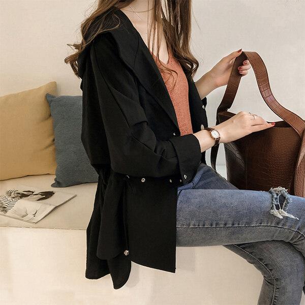 2020 Mùa Xuân Và Mùa Thu Phiên Bản Hàn Quốc Mới Của Kích Thước Lớn Lỏng Lẻo Áo Gió Trùm Đầu Nữ Dài Vừa Phải Áo Khoác Jacket Mỏng Giản Dị