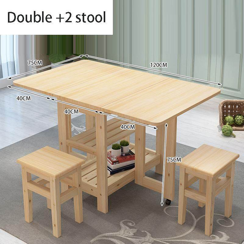120x75x75cm, Solid Wood Dining Table with 2 Stools,Folding Solid Wood Kitchen Table and Chair Set Island Cart Trolly Breakfast Bar