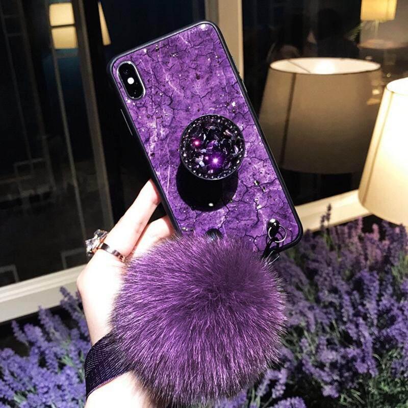 Kualitas Tinggi Silikon TPU + PC Foil Emas Marmer Telepon Case S untuk Samsung Galaxy S9 Glitter Cover Pop Berdiri Case untuk Samsung Galaxy s9 dengan Bola Rambut