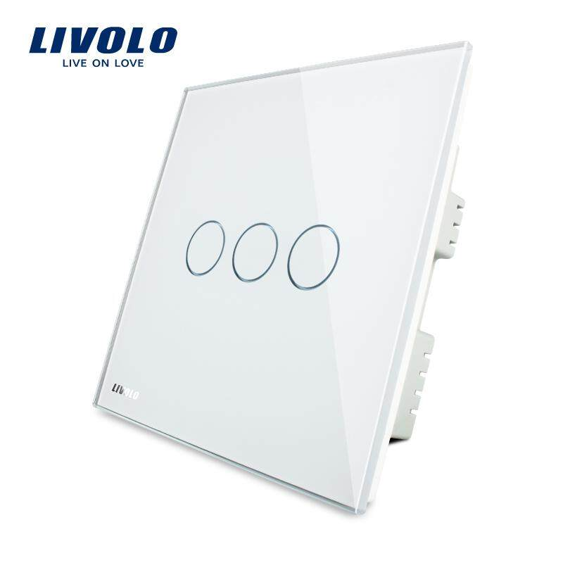 Livolo UK standard luxury triple wall sensor touch switch AC 220-250V,touch-sensitive