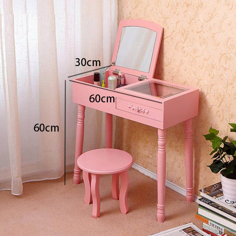 Vanity Table Set with Foldable Mirror, With Stool, 1 Drawer, 4 Organizers Makeup Dressing Table, Easy Assembly, Gift for Mom