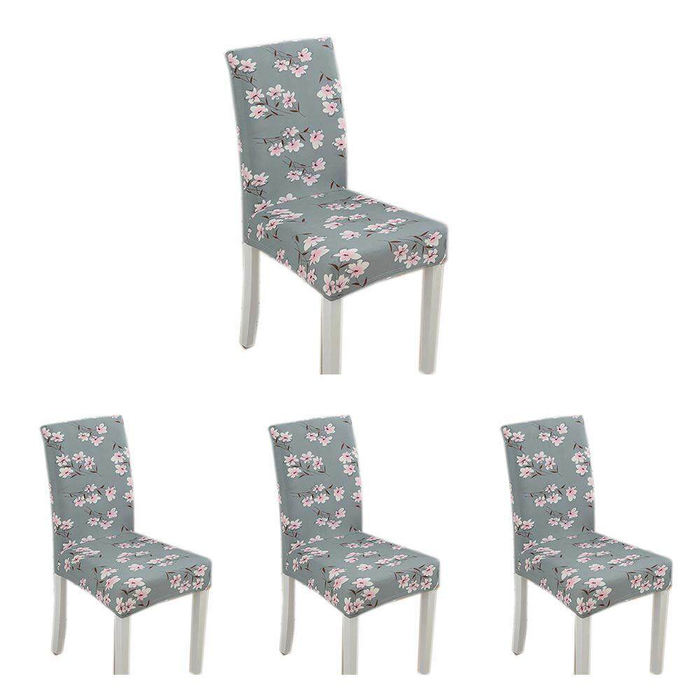 SeaLavender 4PCs Spandex Chair Cover Stretch Elastic Dining Seat Protector Anti-dirty Removable Slipcover for Banquet Wedding Hotel