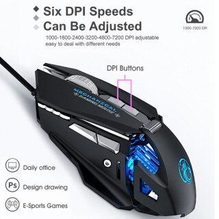 IMICE Chuột Cơ 7 Nút Có Dây USB 7200Dpi 6 Tốc Độ Có Thể Điều Chỉnh Độ Phân Giải, Chuột Thở Nhiều Màu RGB Chơi Game thumbnail