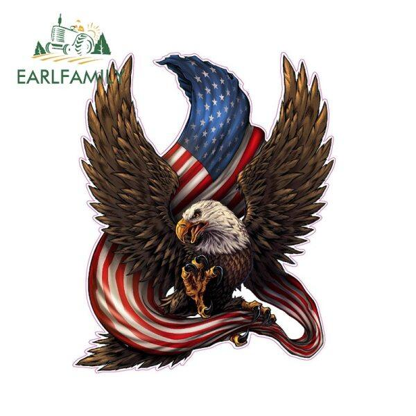 13Cm X 11Cm Mỹ Hói Eagle American Cờ Vinyl Sticker Xe Phản Quang Decal Chống Thấm Nước Dán Xe Styling