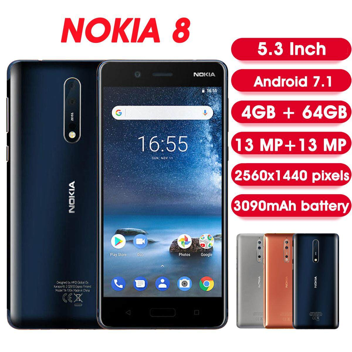 【2 Years Warranty+Free Shipping】NOKIA 8 Global Version 5 3 Inch 4GB 64GB  Snapdragon 835 Octa Core 4G Smartphone